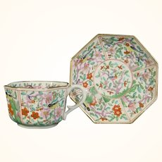 Derby Red Mark Octagonal Cup & Saucer with Asian Decoration C.1810.