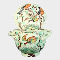 Leeds Creamware Sugar Bowl: Bird, Nest & Egg Decoration C.1770-80