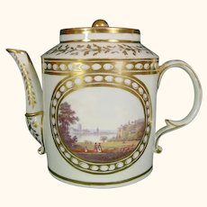 French Teapot by Derby Artist Zachariah Boreman at the Sims Studio in London C1800