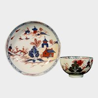Lowestoft House Pattern Teabowl and Saucer C.1790.