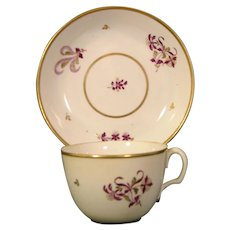 English Porcelain Cup and Saucer in Late 18th-Century Worcester Style c.1795.
