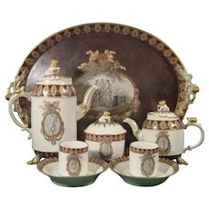 Important Ludwigsburg Tete-a-Tete Tea Set Painted by Elsasser, C.1780