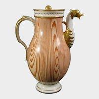 Antique Niderviller Porcelain Wood Grain Coffee Pot C.1810.