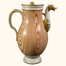Antique Niderviller Porcelain Wood Grain Coffee Pot C.1810.