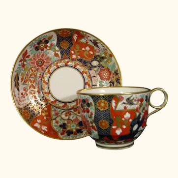 Worcester (Barr Period) Cup & Saucer in an Elaborate & Sassy Pattern C.1805.