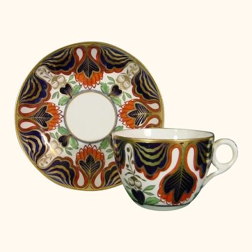 Early Minton Cup and Saucer in Rarely Found Pattern 705, C.1820