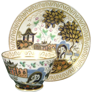 New Hall Cup and Saucer in Pattern 876, the Elephant Pattern C.1805 Antique Porcelain 18th Century