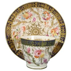 Coalport Cup and Saucer with Extravagant Flowers C1825