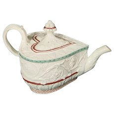 Staffordshire Pearlware Heart-Shaped Valentine Teapot C.1795