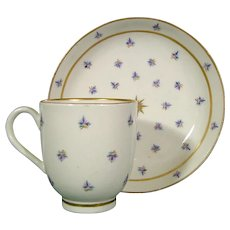 Caughley Porcelain Coffee Cup & Saucer, French Sprig Design C1780.