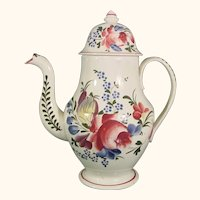 Pearlware Coffeepot with Lively Floral Decoration C.1815.