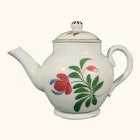Pearlware Miniature Teapot, Adams Rose Decoration C.1815 Staffordshire.