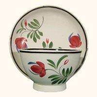 Pearlware Miniature Teabowl & Saucer, Adams Rose Decoration C.1810.