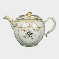 Chinese Export Teapot C.1785 Black Monochrome Flowers with Gilding Added in England