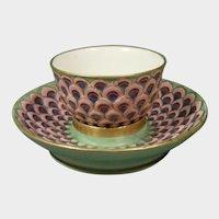 Extraordinary Cozzi Teabowl and Trembleuse Saucer c1770. Italian Antique Porcelain 18thc