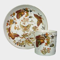 Wedgwood Cup & Saucer with Gilded Butterflies and Colorful Flowers C.1820