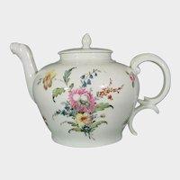 Fine Antique Nymphenburg Teapot Decorated with Flower Bouquets c.1770