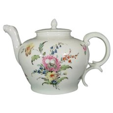Fine Antique Nymphenburg Teapot Decorated with Flower Bouquets c.1770