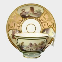 Early Spode Cup & Saucer with Romantic Ruins in Landscapes c1825