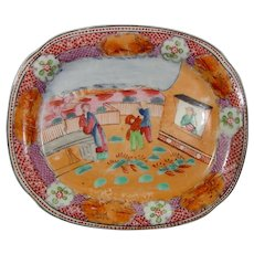 New Hall Pattern 425 Teapot Stand Boy in the Window C1815.