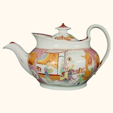 New Hall Teapot Chinoiseries Pattern 621 New Oval Shape Antique Porcelain, Like Boy in Window