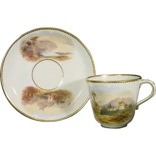 Choice: Coalport Cup & Saucer with Named Views of Scotland, Ireland, England, Wales, Italy, Germany, Switzerland C1860.