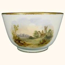 Victorian Coalport Bowl with Grand Tour Scenes & Named Views Abbey Scotland, Ireland, Leeds C1860