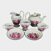 Sewell Greek Revival Pearlware Tea Set with Adam Buck-Style Woman Playing Piano Teapot Sugar Creamer Cup Saucer C1820