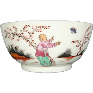New Hall Waste Bowl for a Tea Set, Boy and Butterfly Pattern 421, C1790 Antique 18th Century British Porcelain