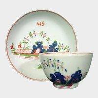 Keeling (Factory X) Porcelain Teabowl & Saucer, Blue Rocks Pattern C1800 Antique Porcelain 18th Century