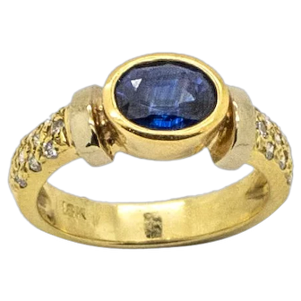 Dazzling Vintage 18kt Two Tone Yellow and White Gold Pave Set Diamond and Oval Sapphire Ring, Size 7 1/4.