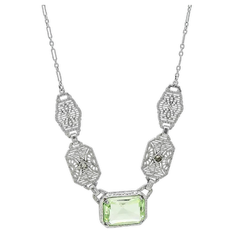 Art Deco Synthetic Green Spinel and Clear Crystal Filigree Station Necklace with Paper Clip Chain, 1920's/30's