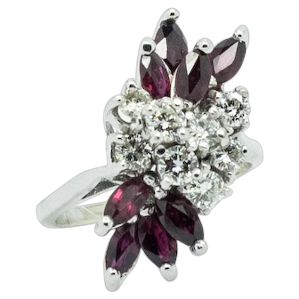 Stunning 14kt White Gold Vintage Ruby and Diamond Waterfall Ring, 1970's/80's, Size 5 ¼, Can be Sized.