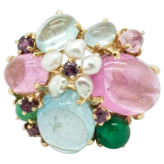 Tutti Frutti Ring, 14kt Yellow Gold (tested) with Multi Color Faceted and Cabochon Gemstones and Cultured Freshwater Rice Pearls, early 1980's. Size 6 1/2 - 7 with Dome.