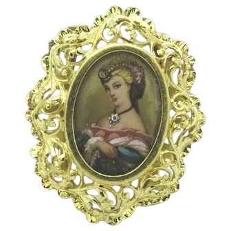Corletto Italy 18kt Yellow Gold Filigree Ring with Hand Painted Miniature Woman wearing Diamond Pendant, Size 6, Can be Sized.