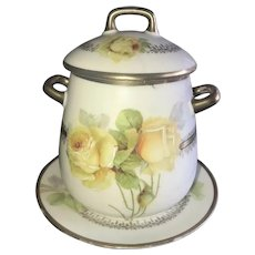 Antique Lidded Biscuit Jar, Yellow Roses, with Matching Underplate, PM Bavaria ca. 1918~1920