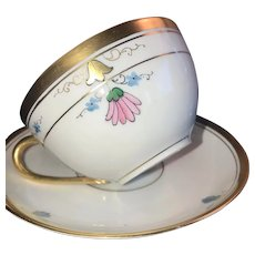 "Antique Cup & Saucer Set, Pickard ""Russian Flowers"" HandPainted ca. 1918~1919"