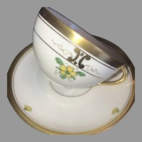 "Antique Cup & Saucer Set, Pickard ""Russian Flowers"" HandPainted ca. 1918~1919"