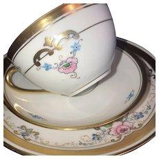 """Antique 3 Piece Dessert Set, Pickard """"Russian Flowers"""" HandPainted ca. 1918~1919"""