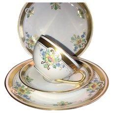 """Antique 4 Piece Dessert Set, Pickard """"Russian Flowers"""" HandPainted ca. 1918~1919"""