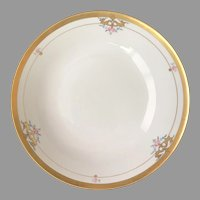 Antique Pickard Serving Bowl, Gold Scroll Pink Roses 1912-1918