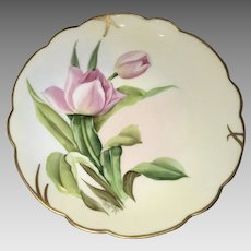 Antique HandPainted Pickard 'Wight Tulips' Cabinet Plate, ca.1905-1910