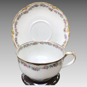 Antique Limoges Cup and Saucer Set, Dainty Flowers & Ribbon Handle