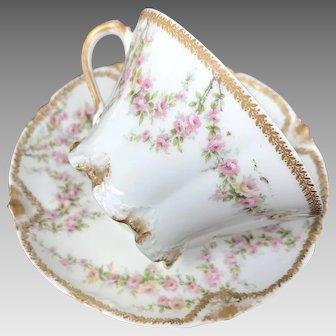 Antique Limoges Cup and Saucer Set, Floral Garland
