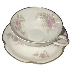 Antique Limoges Cup and Saucer Set, Floral Cartouche ca. 1893-1930