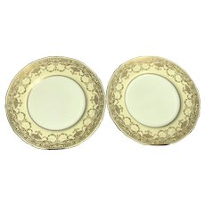 Pair of Antique Dinner Plates, Cream and Gold by Royal Doulton, England  ca. 1902~1922