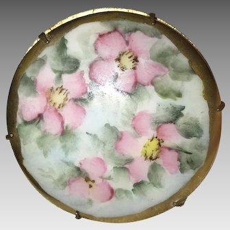 Antique HandPainted Porcelain Brooch ca. 1880s
