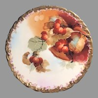 "Antique HandPainted Pickard Cabinet Plate, ""Autumn Currants"" signed Rean, ca. 1912 - 1918"