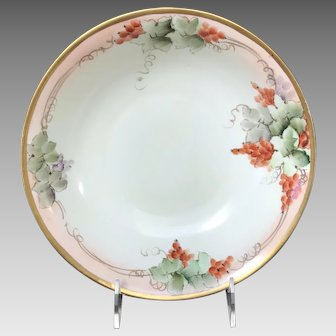 Antique Round Bowl, HandPainted Currants, Bavaria, late 1800s