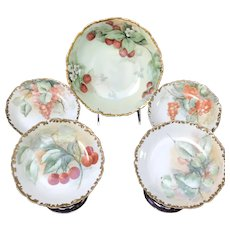 Antique Round Serving Bowl with Fruit Bowls, HandPainted Fruit, Limoges, France 1907